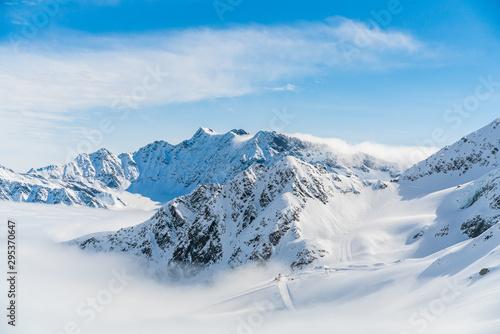 Fototapeta Panorama of ski runs on the Kaunertal glacier in Austria.