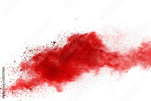 Acrylic Prints Form Red powder explosion on white background. Colored cloud. Colorful dust explode. Paint Holi.