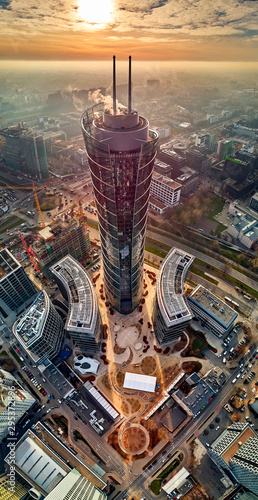 Beautiful panoramic aerial drone view to the center of Warsaw City and The Warsa Fototapeta