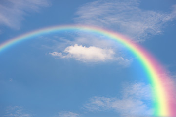 Blue sky and clouds with rainbow