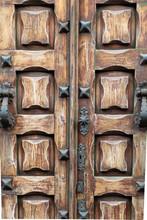 Antique Wooden Carved Door Wit...
