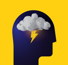 Depression. Panic Attack. Bad Mood. Humans Head Silhouette With Thunder Cloud Inside. Vector Illustration For Your Psychologist Blog Article Or Social Media Post.