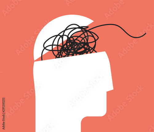 Fotografia ADHD Attention disorder vector illustration of humans head silhouette with messy lines of thinks