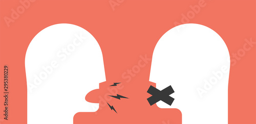 Photo  Two white humans heads silhouette on red background
