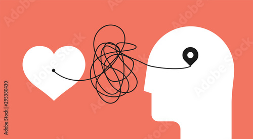 From heart to head. Distorted path from soul to brain. Psychology concept about yourself listening for your psychology therapy blog article image or post. Minimalistic vector illustration. © paul_craft