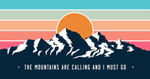 Vintage Styled Mountains Banne...