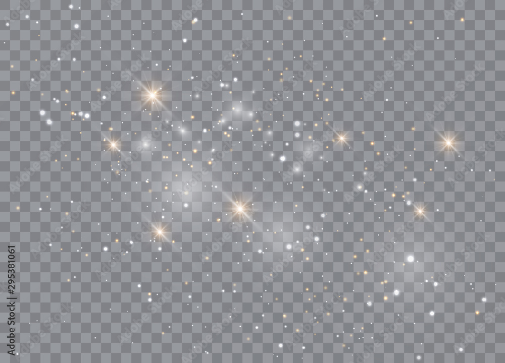 Fototapety, obrazy: Light glow effect stars. Vector sparkles on transparent background. Christmas abstract pattern. Sparkling magic dust particles.