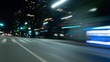 Night Drive Hyperlapse Los Angeles Downtown Financial District Front Right View VJ Loop