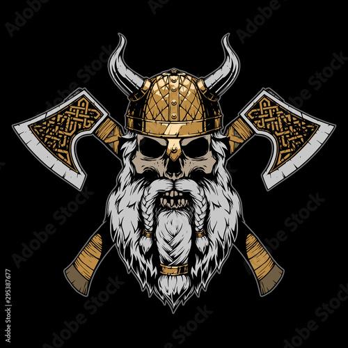 Viking skull illustration on black background Canvas Print