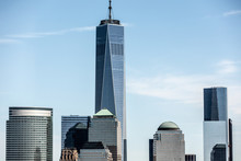 Low Angle View Of One World Trade Center In City Against Blue Sky