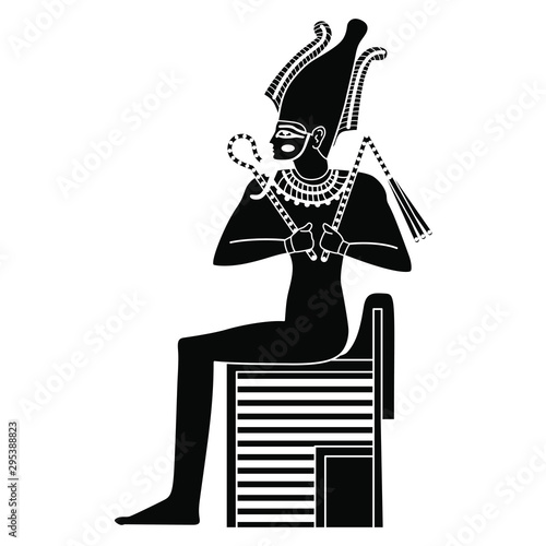 Fototapeta Ancient Egyptian god Osiris sitting on throne