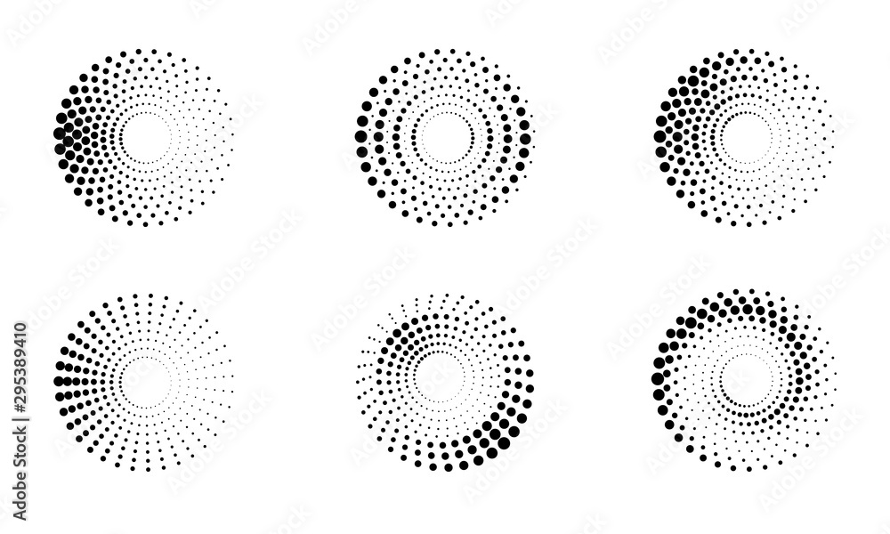 Fototapeta Halftone round as icon or background. Black abstract vector circle frame with dots as logo or emblem. Circle border isolated on the white background for your design.