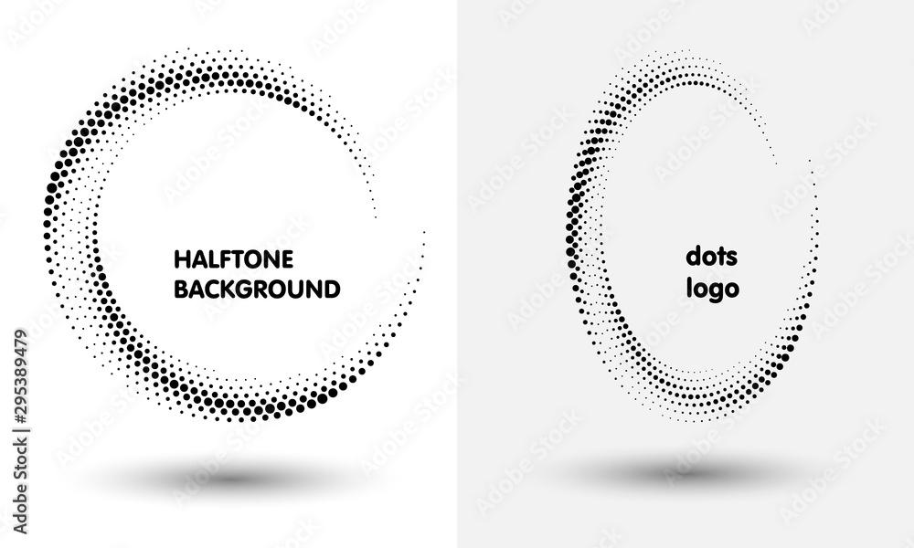 Fotografía  Halftone round as icon or background