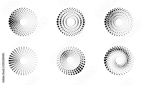 Obraz Halftone round as icon or background. Black abstract vector circle frame with dots as logo or emblem. Circle border isolated on the white background for your design. - fototapety do salonu