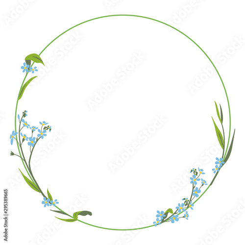 Capital letter O with floral motifs. Round frame with forget-me-not flowers. Numeral 0. Botanical font. Wall mural