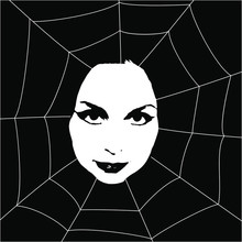 Female Face In Spider Web. Femme Fatale Archetype. Halloween Emblem. Black And White Silhouette.