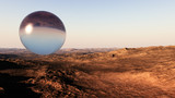 giant sphere on majestic desert landscape concept with unique and deep atmosphere
