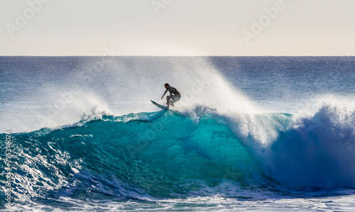 Fotomural  Surfing a wave in Hawaii