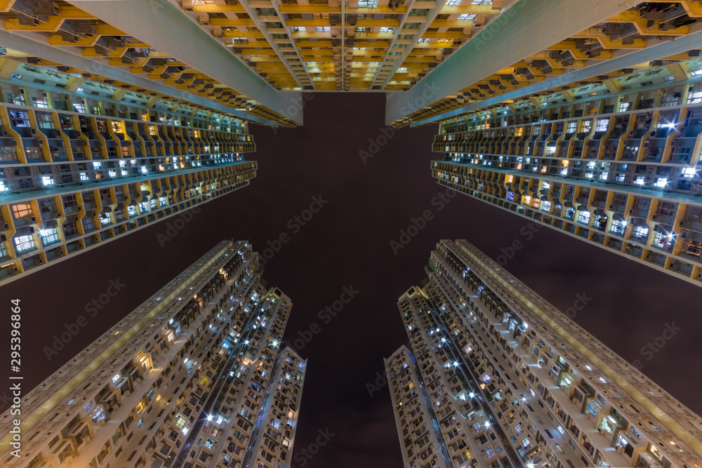 Fototapeta Colorful Traditional residential building at nigh from Hong Kong
