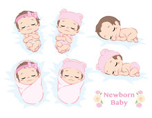 Cute Newborn Baby Girl. Poses Set. Vector Illustration.