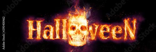 Brennender Schädel in der Dunkelheit Wallpaper Mural