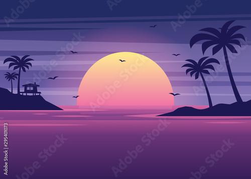 Foto auf Gartenposter Violett web banners on the theme of beach sunset, sea, ocean, sunny, sunshine, paradise, coastline