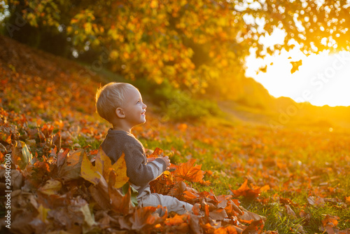 Smilimg cute little girl sitting on the covered leaves of the earth watching the leaves fall Fototapete