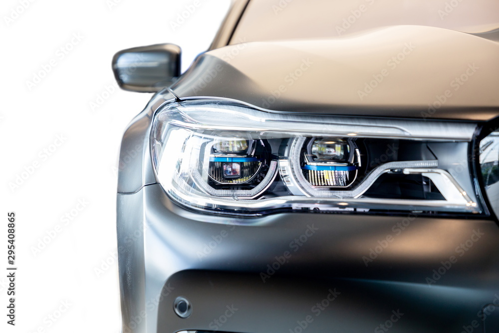Fototapeta Bangkok , Thailand 2019 : close up headlight front view of BMW M 760 Li xDrive Model V12 Excellence luxury car presented in motor show Thailand .
