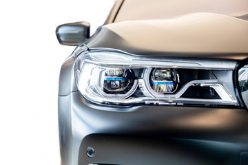 Bangkok , Thailand 2019 : close up headlight front view of BMW M 760 Li xDriv...