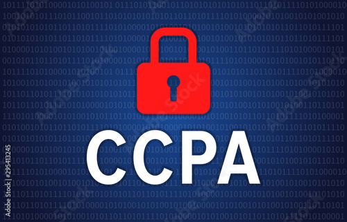 California Consumer Privacy Act or CCPA symbol with lock illustration for editor Canvas Print