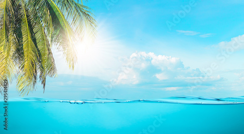Poster Turquoise Sea the beach clear water and sky coconut trees with relaxation