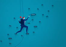 Businessmen Are Climbing Up A Mountain With A Rope To Forward Success. . Illustration Vector.