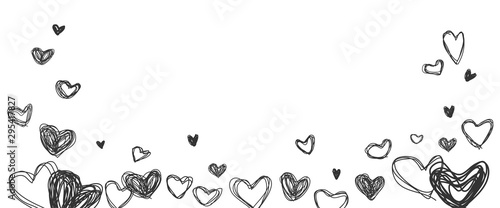 Fotografía  Line drawing hearts shape on white background