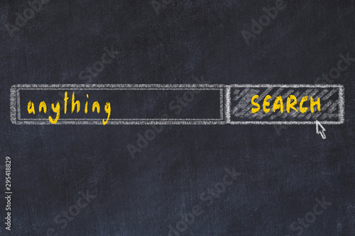 Photo Chalkboard drawing of search browser window and inscription anything