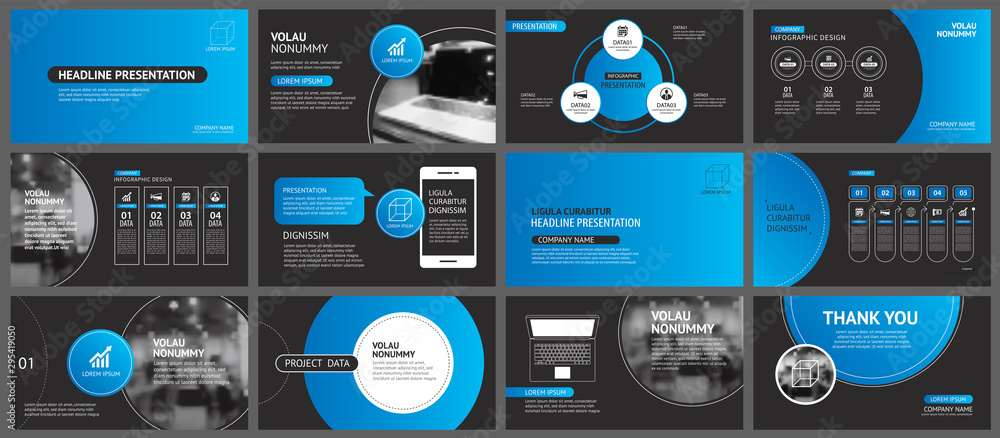Fototapety, obrazy: Presentation and slide layout background. Design blue and black circle template. Use for business annual report, flyer, marketing, leaflet, advertising, brochure, modern style.