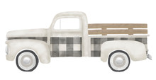 Old Vintage Gray Gingham Truck