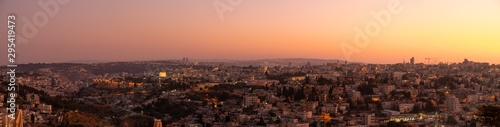 Panoramic View of Sunset Over the City of Jerusalem FRom Mount Olive