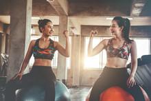 Two Women In Sportswear Workou...