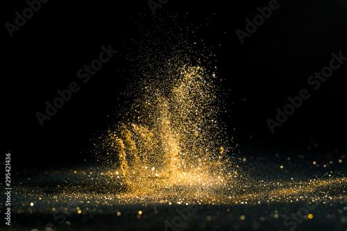 Fotomural glitter lights grunge background, gold glitter defocused abstract Twinkly gold Lights Background