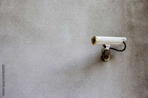 security CCTV camera on wall Canvas Print