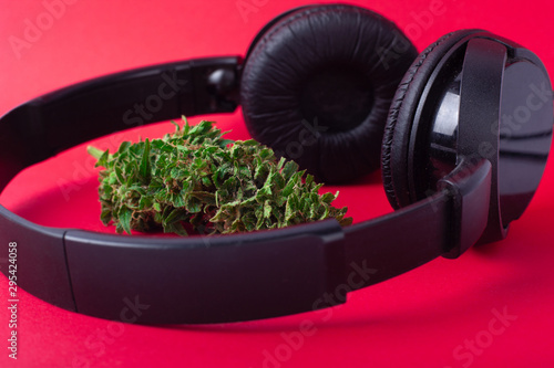 american music industry,headphones and cannabis on red background Wallpaper Mural