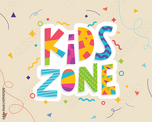 Kids zone banner template. Kids zone vector cartoon logo. Colorful lettering for children's playroom decoration
