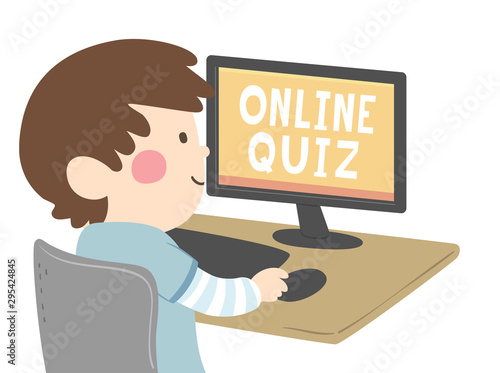 Kid Boy Online Quiz Illustration - 295424845