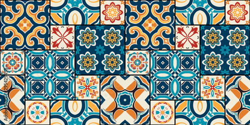 Fotografia  Traditional ornate portuguese decorative tiles azulejos.