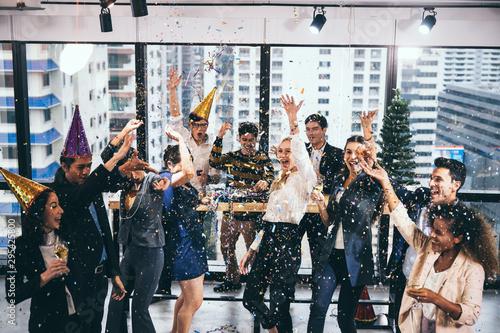 Celebrate success with colleagues. Business celebration party Canvas Print