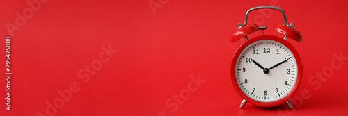 Red alarm clock show 10 hour vintage modern background Wallpaper Mural