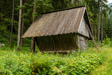 A Hay Rack - Wooden Structure For Feeding Animals, During Winter During The Winter When There Is A Lack Of Food In The Forest.