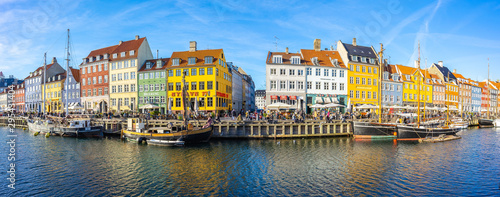 Panorama view of Nyhavn in Copenhagen city, Denmark Wallpaper Mural