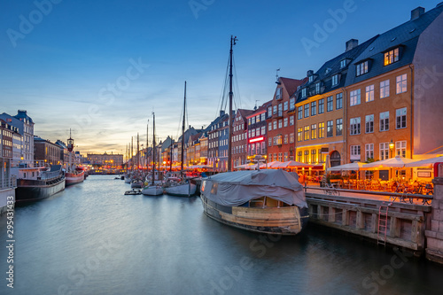 Nyhavn landmark buildings in Copenhagen city, Denmark Wallpaper Mural