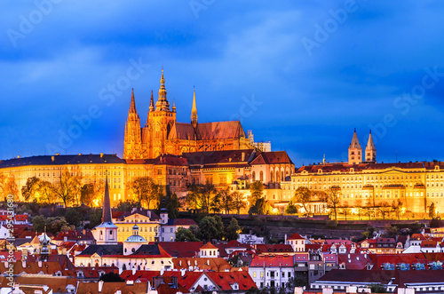 Prague, Czech republic: View of the Prague Castle in the evening, from the Old Town Bridge Tower